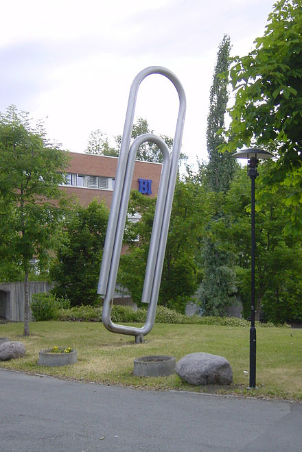 The giant paper clip in Sandvika, Norway. It shows the Gem, not the one patented by Vaaler. BI-binders.jpg