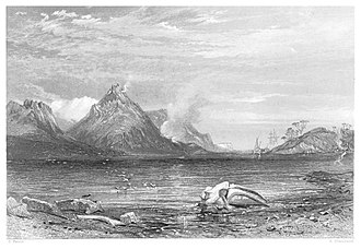 Whaling in Australia - Old whaling station (1846) by John Skinner Prout. Engraved by Edwin Booth (1873)