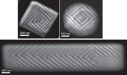 Scanning transmission electron microscopy of the ferroelastic domains that form in BaTiO3 on cooling through the Curie temperature. The vertex point, where domain bundles meet, moves from the center in isometric crystals (top) to off-center in oblongs (bottom). BaTiO3 ferro domains.jpg