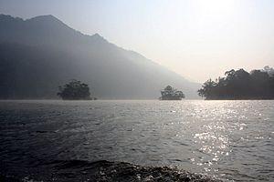 Ba Bể National Park - Morning mist over Ba Bê Lake