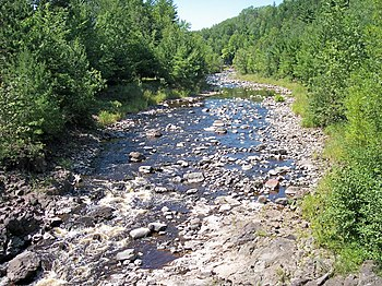 The Bad River in Copper Falls State Park, nort...