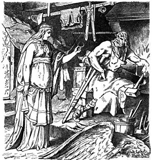 Wayland the Smith - Böðvildr in Weyland's Smithy, John Gehring (1883)