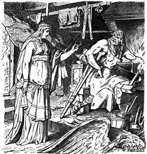 Wayland the Smith - Böðvildr in Weyland's Smithy, John Gehring (1883)