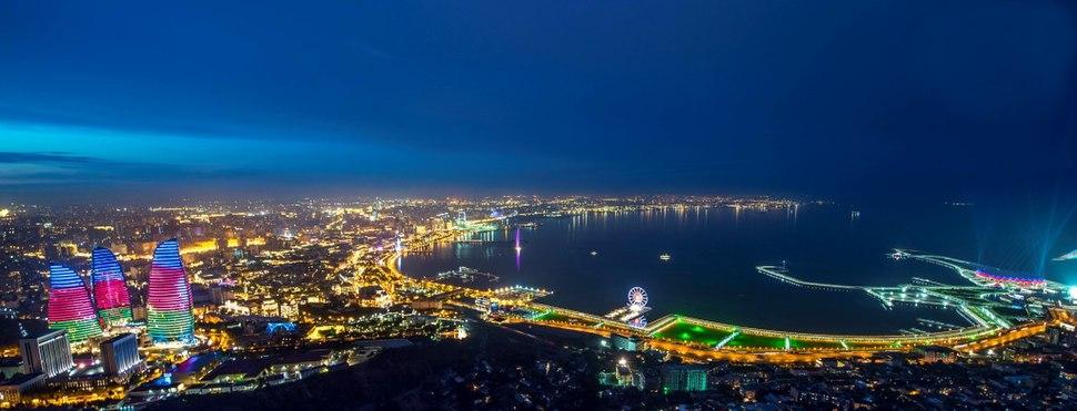 Nighttime view of Baku.