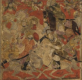 Military career of Muhammad - 14th century illustration showing the angelic intervention (top) in the Battle of Badr