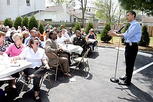 Alexander County, Illinois - April 15, 2004, Barack Obama speaks at a luncheon in the city of Cairo, during his US Senate campaign