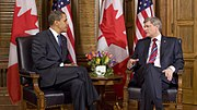 Barack Obama meets Stephen Harper