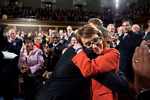 112th United States Congress - After delivering the 2012 State of the Union Address on January 24, 2012, President Obama embraces Congresswoman Gabrielle Giffords, who had been shot the previous year.