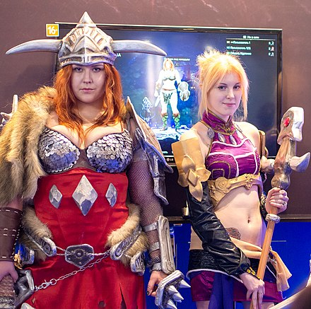 Promotion at IgroMir 2013 Barbarian and mage girls from Diablo III at Igromir 2013 (10091509064).jpg