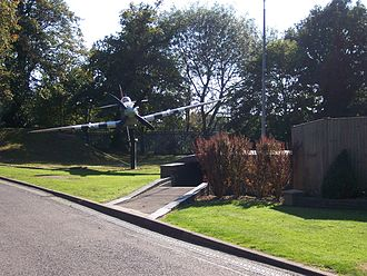 Battle of Britain Bunker - Replica Spitfire gate guardian outside the Battle of Britain Bunker