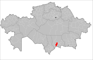 Location of Bayzak District in Kazakhstan