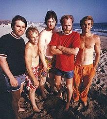 Bunch males goo flow on beach
