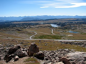 Beartooth Highway - Beartooth Highway weaving its way through the Beartooth Mountains