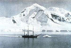 Belgian Antarctic Expedition - The Belgica anchored at Mount William.