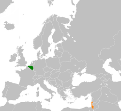 Map indicating locations of Belgium and Israel