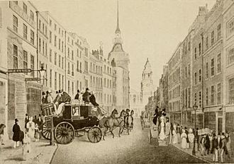 """Bell Savage Inn - Coach emerging from the """"Belle Sauvage"""" yard into Ludgate Hill (engraving after James Pollard)"""