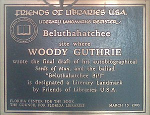 Stetson Kennedy - Sign on Stetson Kennedy's residence erected consequent to the 2003 designation of Beluthahatchee as a Literary Landmark, No. 83 in the National Register. (An additional marker, in Kennedy's name, was also approved, to be erected following his demise.)