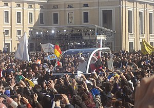 Resignation of Pope Benedict XVI - Benedict XVI in the popemobile at final Wednesday General Audience in St. Peter's Square on 27 February 2013