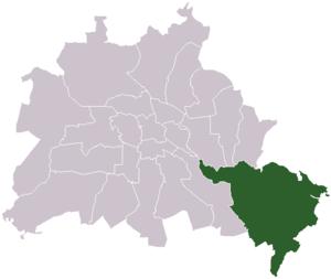 Lage des ehemaligen Bezirks Köpenick in Berlin