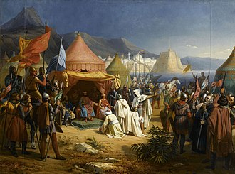 Siege of Tripoli - Fakhr al-Mulk ibn-Ammar submitting to Bertrand of Toulouse, 1842 painting by Charles-Alexandre Debacq