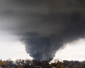 2016 Bethlehem Steel fire - Smoke plume seen approximately 5 miles down range from accident site