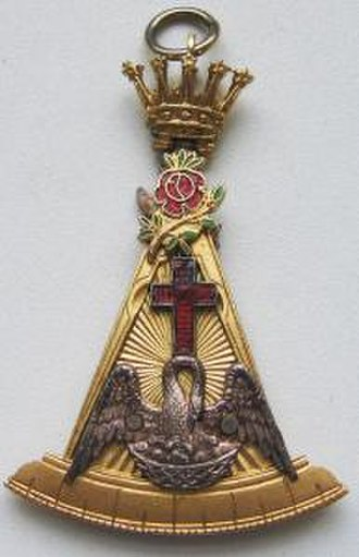 Rosicrucianism - 18° Knight of the Rose Croix jewel (from the Masonic Scottish Rite)