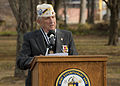 Bill Muehleib, a Pearl Harbor survivor, speaks during a remembrance ceremony for the 71st anniversary of the attacks on Pearl Harbor, Hawaii, at Joint Expeditionary Base Little Creek-Fort Story, Va 121207-N-ZX832-073.jpg