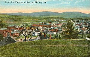 Norway, Maine - Bird's-eye view from Pikes Hill c. 1912