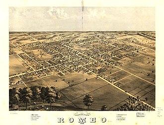 Romeo, Michigan - Panoramic map of Romeo with list of landmarks, 1868