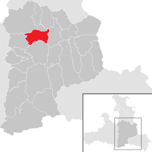 Location of the municipality of Bischofshofen in the St. Johann im Pongau district (clickable map)