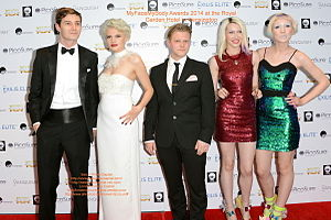 Blonde Electra - Ruby and Jazzy King (far right) at the MyFaceMyBody Awards 2014