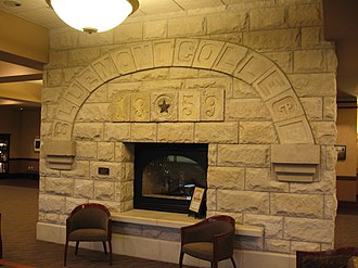 Blue Mont Central College - Arch from the Blue Mont College building, dated 1859, now at the KSU Alumni Center