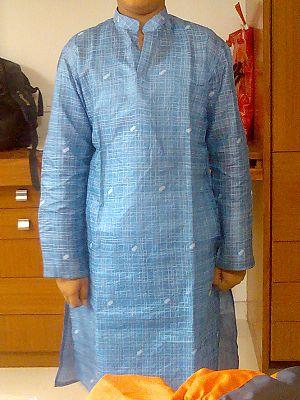 Khadi - A blue khadi kurta.