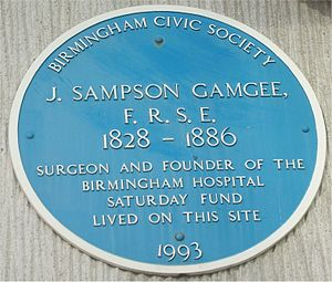 Sampson Gamgee - Blue plaque on the Birmingham Repertory Theatre