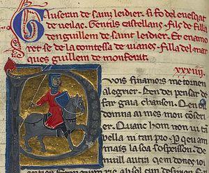 Gauseran de Saint-Leidier - Gauseran's vida is the red text. He is the knight below.