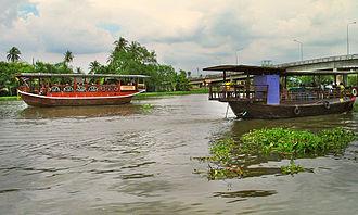 Tha Chin River - Tourist boats on the Tha Chin near Nakhon Chai Si