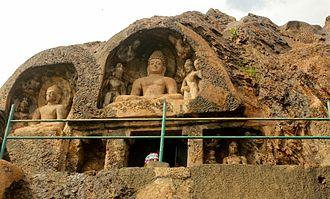 Mahayana - Rock-cut Buddha statue at Bojjannakonda near Anakapalle, Andhra Pradesh.