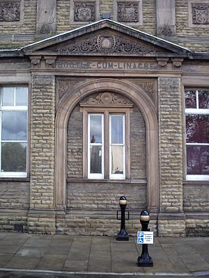Bootle - Bootle-cum-Linacre inscription on the town hall's external stonework