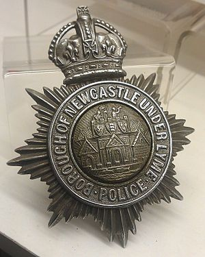 Newcastle-under-Lyme - Borough of Newcastle-under-Lyme Police hat badge, in the collection of the Staffordshire County Museum and displayed at the Shire Hall, Stafford