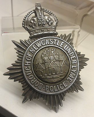 Borough of Newcastle-under-Lyme - Borough of Newcastle-under-Lyme Police hat badge, in the collection of the Staffordshire County Museum and displayed at the Shire Hall, Stafford