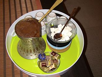 Bosnia and Herzegovina cuisine - Bosnian coffee, with some Bajadera.