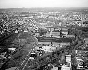 Botany Mills - Botany Worsted Mills (center) in a 1997 photo. The mills are part of the Dundee Canal Industrial Historic District.