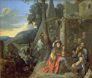 Sébastien Bourdon - Le Camp de Bohémiens, oil on wood, Musée Fabre