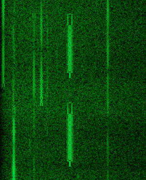 PSK63 - Spectrogram of a PSK63 transmission on the 20-meter band, surrounded by PSK31 transmissions