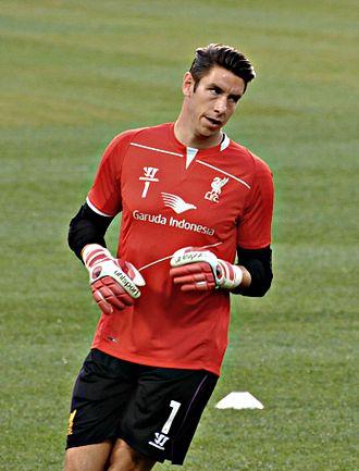 Brad Jones (footballer) - Jones warming up for Liverpool before a friendly game vs. Roma in 2014
