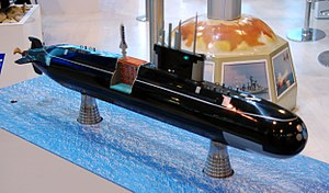 Model of Amur-950 submarine with BrahMos