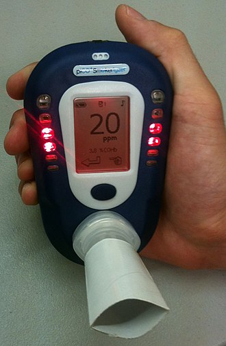 Passive smoking - Breath CO monitor displaying carbon monoxide concentration of an exhaled breath sample (in ppm) with corresponding percent concentration of carboxyhemoglobin displayed below.