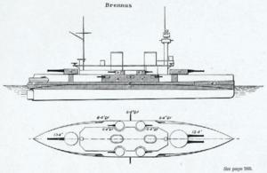 French battleship Brennus - Line-drawing of Brennus