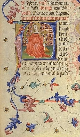 Sicilia (Roman province) - Saint Lucy depicted in the Breviarium of Martin of Aragon