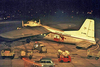 Bristol Freighter - Bristol Freighter 31 of Dan-Air operating a cargo service at Manchester Airport in 1964.